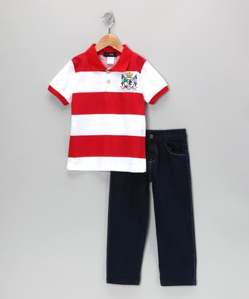 Red Crown Stripe Polo & Jeans - Infant, Toddler & Boys