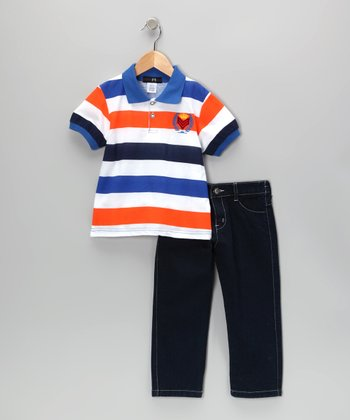 Royal & Orange	Crown Stripe Polo & Jeans - Infant, Toddler & Boys