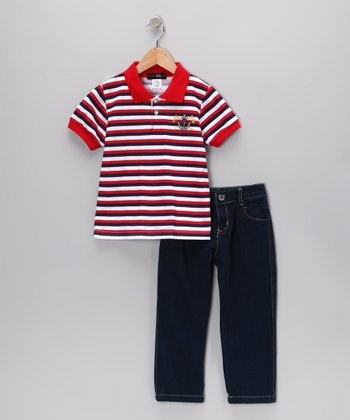Red Flag Stripe Polo & Jeans - Infant, Toddler & Boys