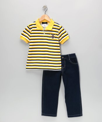 Yellow Flag Stripe Polo & Jeans - Infant, Toddler & Boys