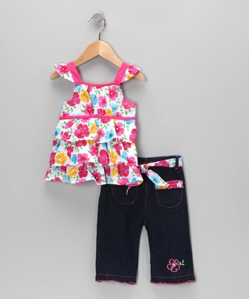 Pink Floral Tiered Ruffle Tunic & Jeans - Infant