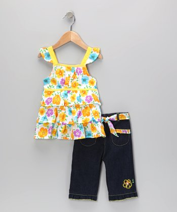 Yellow Floral Tiered Ruffle Tunic & Jeans - Infant