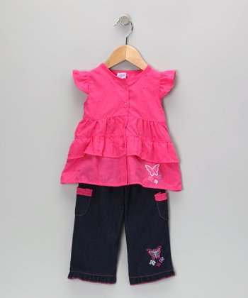 Pink Butterfly Tunic & Jeans - Infant