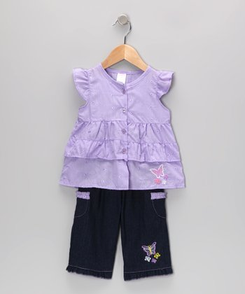 Purple Butterfly Tunic & Jeans - Infant