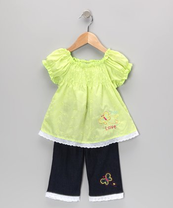 Green Shirred Eyelet Tunic & Jeans - Infant & Toddler