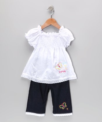 White Shirred Eyelet Tunic & Jeans - Infant & Toddler