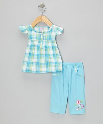 Blue Plaid Angel-Sleeve Top & Embroidered Capri Pants - Infant & Toddler