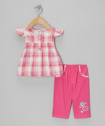 Fuchsia Plaid Angel-Sleeve Top & Embroidered Capri Pants - Infant