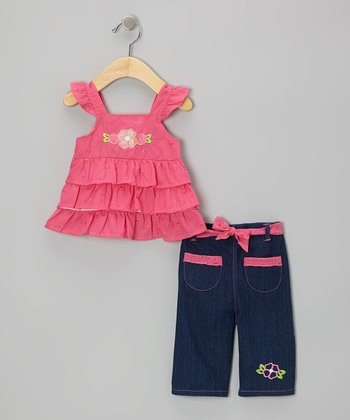 Coney Island Kids Fuchsia Angel-Sleeve Top & Denim Blue Capri Pants - Infant