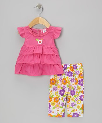 Fuchsia Ruffle Angel-Sleeve Top & Floral Capri Leggings - Infant