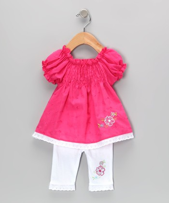 Hot Pink Shirred Eyelet Tunic & Leggings - Infant