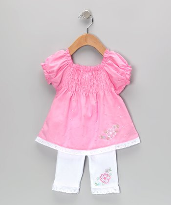 Light Pink Shirred Eyelet Tunic & Leggings - Infant