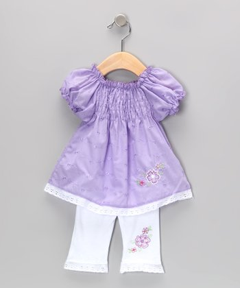 Purple Shirred Eyelet Tunic & Leggings - Infant