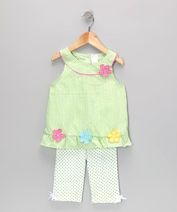 Green Gingham Flower Tunic & Leggings - Infant