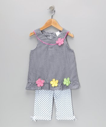 Navy Gingham Flower Tunic & Leggings - Infant