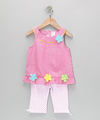 Pink Gingham Flower Tunic & Leggings - Infant