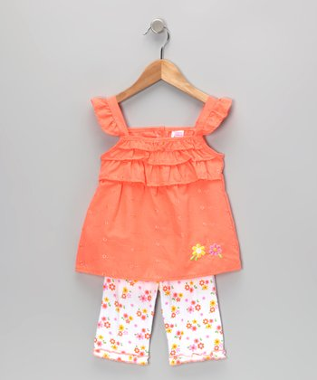 Orange Flower Eyelet Tunic & Leggings - Infant