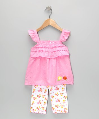 Coney Island Kids Pink Flower Eyelet Tunic & Leggings - Infant
