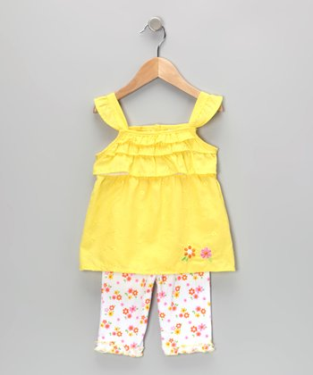 Yellow Flower Eyelet Tunic & Leggings - Infant