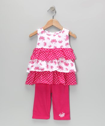 Pink Butterfly Ruffle Tunic & Leggings - Toddler