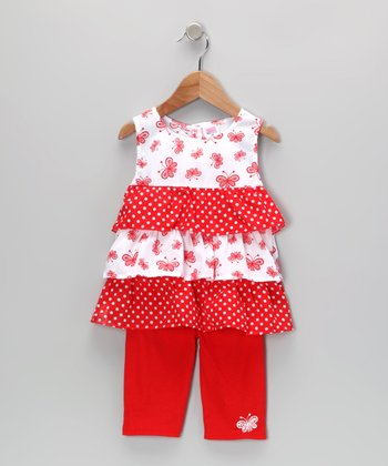 Red Butterfly Ruffle Tunic & Leggings - Toddler