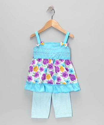 Blue Floral Tunic & Stripe Leggings - Infant