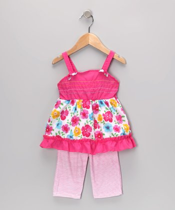 Pink Floral Tunic & Stripe Leggings - Infant & Toddler