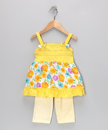 Yellow Floral Tunic & Stripe Leggings - Infant
