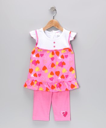 Coney Island Kids Pink Heart Layered Tunic & Leggings - Infant & Toddler