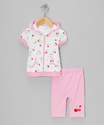Pink Cherry Hooded Short-Sleeve Top & Capri Leggings - Infant