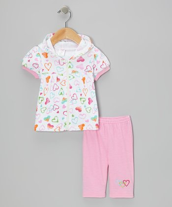White Heart Hooded Short-Sleeve Top & Pink Capri Leggings - Infant