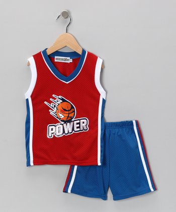 Blue & Red 'Power' Tank & Shorts - Infant