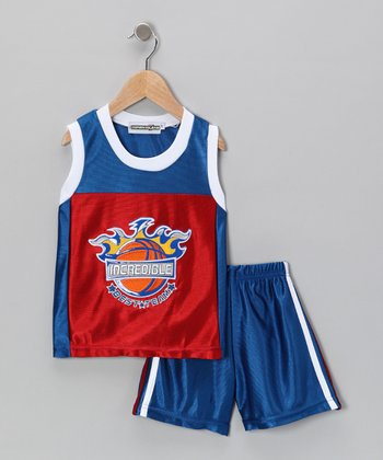 Red & Blue 'Incredible' Basketball Tank & Shorts - Infant
