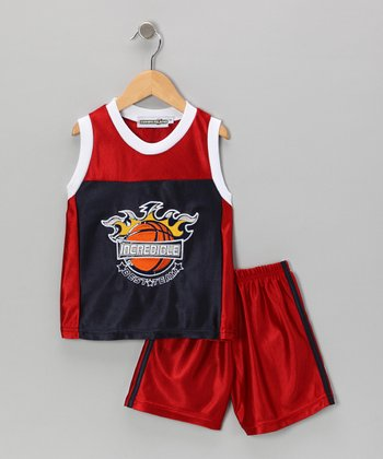 Red 'Incredible' Basketball Tank & Shorts - Infant