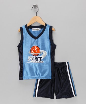 Blue 'Fast Passing' Tank & Shorts - Infant