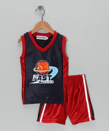 Red & Navy 'Fast Passing' Tank & Shorts - Infant