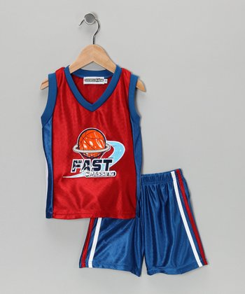 Red & Royal 'Fast Passing' Tank & Shorts - Infant