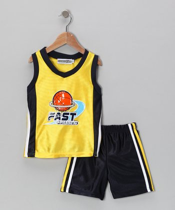 Yellow 'Fast Passing' Tank & Shorts - Infant