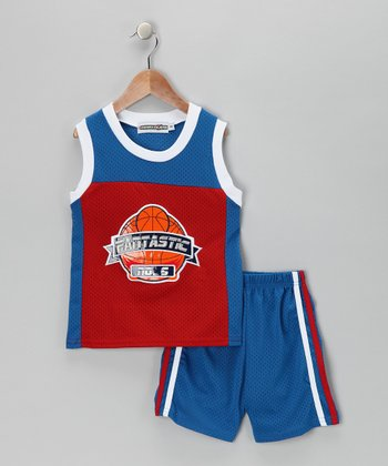 Blue & Red Basketball Tank & Shorts - Infant