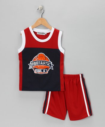 Red Basketball Tank & Shorts - Infant