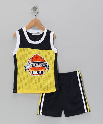 Yellow Basketball Tank & Shorts - Infant