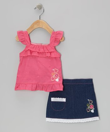 Fuchsia Eyelet Angel-Sleeve Top & Denim Blue Skort - Infant & Toddler