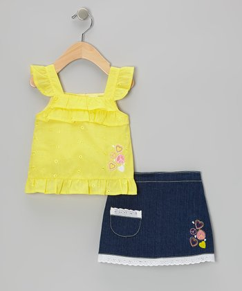 Yellow Eyelet Angel-Sleeve Top & Denim Blue Skort - Infant & Toddler