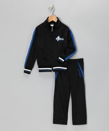 Black & Royal Stripe 'Football' Track Jacket & Pants - Toddler & Boys