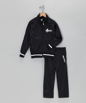 Navy & Dark Stripe 'Football' Track Jacket & Pants - Toddler & Boys