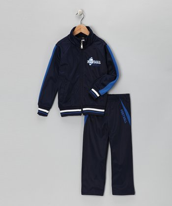 Navy & Royal Stripe 'Football' Track Jacket & Pants - Toddler & Boys