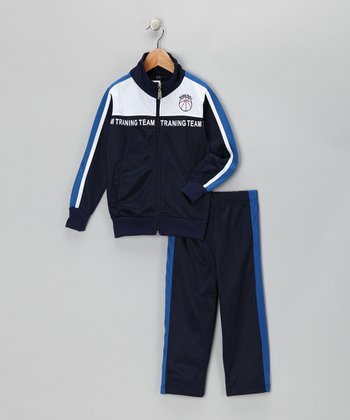 Navy & Blue 'Team' Track Jacket & Pants - Toddler & Boys