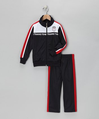 Navy & Red 'Team' Track Jacket & Pants - Toddler & Boys