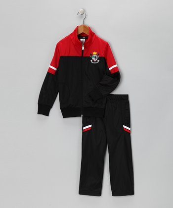 Black & Red 'Victory' Track Jacket & Pants - Toddler