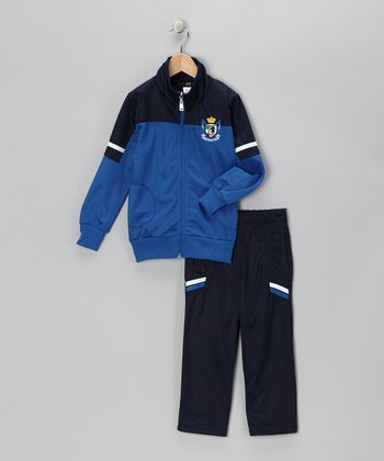 Navy & Blue 'Victory' Track Jacket & Pants - Toddler